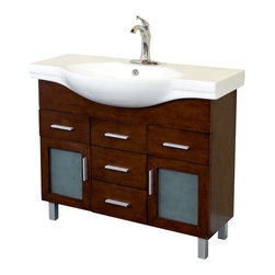 Bellaterra Home - 39.8 in Single sink vanity-wood-walnut-4 drawers - Add a unique contemporary flare to your home's decor with this modern style design sink chest vanity. The medium walnut finish is refreshing and will surely add to your home's ambiance. Three door panels with soft close hinges, two functional drawers with ball bearing drawer glides provide all storage necessity for any bathroom without compromising.