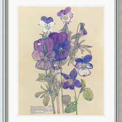 Amanti Art - Wild Pansy Framed Print by Charles Rennie Mackintosh - Best-known for his modernist architecture, Mackintosh became an artist late in life and continued to eschew Victorianism in favor of sleek, spare designs.