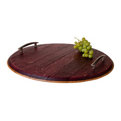 Alpine Wine Design - Wine-Infused Barrel Platter - A loaf of bread, a jug of wine and thou. This platter is the beginning of a beautiful evening. It's made from a reclaimed, wine-soaked barrel top to get you in that claret mood. And the sleek silver handles provide a modern counterpoint to show your true vintage.