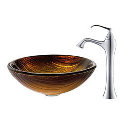 Kraus - Kraus Midas Glass Vessel Sink and Ventus Faucet Chrome - *The layered pattern of the Midas sink creates a dynamic surface for flowing water, while the rich golden tones add a touch of warmth. Pair it with the soft curves of the classically inspired Ventus faucet in chrome for a contemporary twist