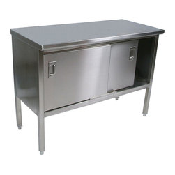 John Boos - Work Table w Enclosed Base - Adjustable bullet feet. Open front. Steel base and under shelf. Sound deadened top. 1.5 in. stallion edge on front and rear. 90 degree bended side edges. National sanitation foundation and US department of agriculture certified. Warranty: One year against manufacturing defects. Made from type 300 stainless steel. Satin color. Made in USA. 60 in. W x 24 in. D x 35.75 in. H (113 lbs.). Specification sheet