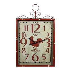 27.5 X 17.7 X 2.3 IN Metal Wall Clock - Large rustic rooster wall clock