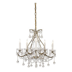 Currey and Company - Currey and Company Paramour Traditional Chandelier X-8009 - This stylish chandelier is decorated with crystal beads and tear drops. The decorative crystals catch the light and create a sparkling light effect to the room. The Currey and Company Paramour Traditional chandelier features an elegant wrought iron frame with smoke gold finish.