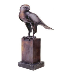 EttansPalace - Classic Medieval European Falcon Bird Wax Bronze Statue Sculpture Figurine - In the tradition of medieval European falconry, these noble birds were trained and used in the ancient sport of hunting wild game. This pastime of European aristocracy has long been immortalized in manuscript, tapestry and sculpture. Design offers you this exclusive museum quality gallery bronze Falcon statue, perfect for fine homes. This work of art is skillfully cast from a French antique sculpture in the centuries-old lost wax method, and it is mounted on a black marble base. A timeless Bronze sculpture, this is classic art at its finest.