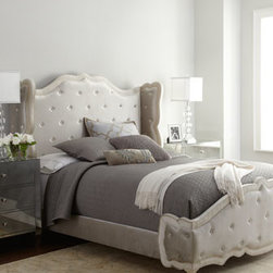 "Haute House - Haute House Champagne ""Tabitha"" Tufted Bed - Exclusively ours. We've been seeing a lot of items that fall into what we've called ""The New Pretty"" trend, where the emphasis is on beauty from a contemporary perspective. This bed perfectly illustrates the category with its graceful shape and up-to-..."