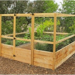 Gardens to Gro 8 x 8 ft. Deer-Proof Vegetable Garden Kit - Make the task of gardening easier on yourself and ensure that you will be the one enjoying the fruits of your labor (instead of the deer or rabbits) with the Gardens to Gro 8 x 8 ft. Deer-Proof Vegetable Garden Kit. The smart, surround-you design of this garden makes it easy for you to access all your plants and soil from the center walkway and 20-inch high growing beds mean no stooping for your and plenty of room for roots to grow. The garden beds are 8-feet long and 30 inches wide giving you approximately 45-square-feet of growing space - the perfect size garden for a family of four.Creating the frame for your garden are 1.25-inch thick cedar planks. Cedar is naturally resistant to rot, mildew, warping, and insects, so it's perfect for use in a raised garden. The 34-inch high fencing is backed by black hardware mesh to keep out rabbits, raccoons, and dogs while a 5-foot, 8-inch built-in trellis features 4 x 4-inch reach-through netting to keep the deer out. This netting doubles as a trellis that's ideal for peas, beans, cucumbers and tomatoes. All the hardware is included and assembly takes just 2 to 4 hours without any digging.About Gardens To GroThe concept for the ready-made garden was an idea born of necessity by two busy working parents, Lisa and Steve. They dreamt of their own garden but they had no time to create one. Their gardener crafted one for them, but it was unsightly and ineffective. The bunnies got to all the veggies before they could enjoy any of it themselves. Lisa and Steven set their minds to building an attractive garden that would keep out the wildlife. It was a light bulb moment for Lisa who thought, wouldn't it be nice if we could have simply ordered a pre-fabricated garden to be delivered? From then on - since 2004, to be more precise - Gardens To Gro has been helping busy people all over the country enjoy well-built vegetable gardens and fresh vegetables!