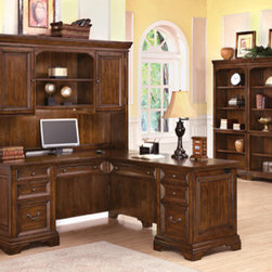 Wynwood - Wynwood Woodlands L Desk and Hutch Set in Heritage Cherry - Whether placed in a corner or centered in your room, this Woodlands L Desk and Hutch Setby Wynwood Furnitures is sure to become a standout piece in your office. Composed of a left pedestal desk and right pedestal return, youll have all the space you need to accommodate your office needs. Both the desk and return have a cable accessible center drawer with thumb latch drop-front and pencil tray. Each pedestal also features a utility drawer with a pencil tray, a utility drawer with removable dividers and a file drawer equipped with filing hardware to accommodate letter or legal sized hanging files. The kneespace locks in each pedestal helping to secure the pedestals bottom two drawers while cable grommets in each pedestal end keep pesky wires and cords organized and out of the way. Finishing the piece is an elegant hutch with two cabinets that each with an adjustable shelf. Centered in the middle is a fixed and adjustable shelf with task lighting and cable accessibility. Display your book collections, awards, or home office accessories in style with this tall and elegant  bookcase. Five shelves provide you with ample storage space, three of which are adjustable to accommodate all of your display needs. In addition to function, the Heritage Cherry finish, bracket feet, traditional hardware and recessed panel detailing provide for a classic, well-polished look.