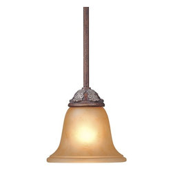 Dolan Designs Lighting - Mini-Pendant with Amber Glass - 828-38 - This mini-pendant features an amber-glass shade, which has a brown marbling and creates a warm illumination. A slim stem leads to an organic leaf pattern just above the shade. Includes one 6-inch and three 12-inch stem segments with an integrated sloped ceiling adapter. Takes (1) 60-watt incandescent A19 bulb(s). Bulb(s) sold separately. UL listed. Dry location rated.