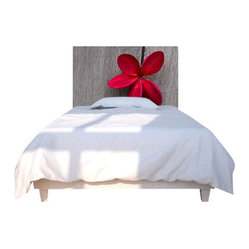 Red Flower Wood Headboard