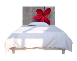 "NOYO - Red Flower Wood Headboard, Full - Say ""so long"" to your ho-hum headboard and ""hello!"" to a whole new concept in bedroom decor: A cedar frame with a machine-washable slipcover you can change at a whim. Tonight, a lovely red bloom; next week, whatever you dare to dream of."