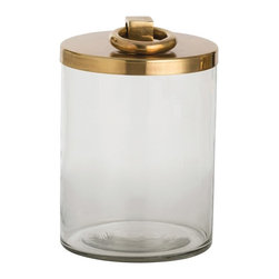 Arteriors - Brooke Container, Medium - This lidded glass container will hold a variety of your favorite things and look fantastic on any surface. The stainless steel ring handle and top have been finished in antique brass.