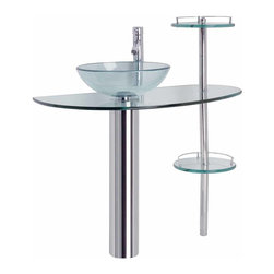 Renovators Supply - Glass Sinks Glass/Stainless Grand Calypso Glass Pedestal Sink - Glass Sinks: the tempered glass Grand Calypso pedestal sink package comes complete with faucet, drain, and p-trap.
