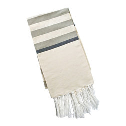 "Abanja - Barek Stripe Fouta Gray Towel - The Barek Fouta towel envelops with oversized comfort and classic style. Featuring sophisticated gray stripes against a neutral background, a soft cotton blend forms the fringed beach accessory. 39""W x 72""H; 85% cotton/15% acrylic; Gray, black and neutral stripes"
