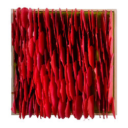 New Growth - Original Mixed Media Artwork - This contemporary mixed media piece pops with bold, vibrant reds. Each piece of paper is individually water-colored, or painted with wax and then sewn to linen or fixed to rigid surfaces.