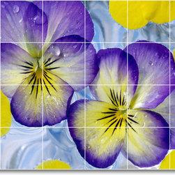 Picture-Tiles, LLC - Flower Picture Mural Tile F352 - * MURAL SIZE: 32x48 inch tile mural using (24) 8x8 ceramic tiles-satin finish.