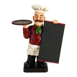 ecWorld - Deluxe Italian Chef With Chalk Board Blackboard Menu Sign and Tray - Great collectable item for your home and restaurant decor. Chalkboard can be used for writing the everyday menu and specials - you'll love it!
