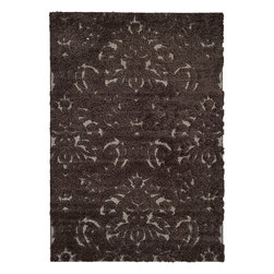 Safavieh - Safavieh Ultimate Dark Brown/Smoke Shag Area Rug (5'3 x 7'6) - This polypropylene-constructed,brown shag rug features an artfully abstract pattern of mixed high and low piles,giving it a more textured and satisfying look. Hints of gray accent the design,lightening the rug and adding intrigue.