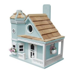 Home Bazaar Flower Pot Cottage Birdhouse - There isn't a bird alive that wouldn't fly for miles to live in this gorgeous two-story house! The Home Bazaar Flower Pot Cottage Birdhouse is an intricately designed model that's made from the best materials and showcases adorable details that really make this birdhouse a bird home! Most noticeable is the assortment of flowers and hanging flower pots of the house's namesake, then there's the front porch, windows, door, pine shingles, and much, much more to admire. This lovely bird feeder also comes with a mounting rack for easy installation and is available in your choice of finish.About Home BazaarCombining their love of birds and nature with their technical and design abilities, the people of Home Bazaar set out to create the world's most spectacular line of birdhouses and birdfeeders in 1999. They've even created a line of architectural birdhouses, feeders, pedestals, and garden accessories. These items are created using only the finest materials and with painstaking attention to detail. Each product is manufactured for functional use and to be enjoyed for years. Distinctive bird houses and feeders can be matched with accommodating pedestals and these pieces can be placed in the backyard or the garden. Cottage designs and pieces with Victorian scrollwork often end up on covered porches or inside the home as decorative accents.