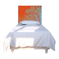 "NOYO - Blue Tree Headboard, Twin - Say ""goodbye"" to your ho-hum headboard and say ""good evening"" to new concept in bedroom decor: A whole series of machine-washable slipcovers that fit over a cedar frame. Tonight, an elegant silhouette of branches; next week, whatever you dare to dream of."