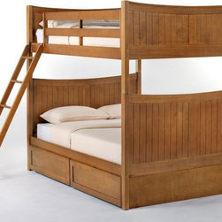NE Kids - Schoolhouse Taylor Full over Full Bunk Bed - Pecan - FUB415 - Shop for Bunk Beds from Hayneedle.com! The Schoolhouse Taylor Full over Full Bunk Bed - Pecan is strong spacious and powerfully pretty. This piece is made from solid hardwood with a lovely pecan finish demonstrating an effortless unity between beauty and brawn. The footboard is available in open or closed styles and the ladder and guardrail are interchangeable to suit any spatial placement. Optional are a trundle bed (great for guest visits and sleepovers) a privacy panel and drawers (storage is invaluable) smoothly morphing this piece into a multitasking machine. This bed measures 81L x 56.5W x 71H inches. We take your family's safety seriously. That's why all of our bunk beds come with a bunkie board slat pack or metal grid support system. These provide complete mattress support and secure the mattress within the bunk bed frame. Please note: CPSC recommends the tops of the guardrails must be no less than 5 inches above the top of the mattress and that top bunks not be used for children under 6 years of age. About New Energy KidsNE Kids is a company with a mission: to create and import truly unique furniture for your child. For over thirty years they've been accomplishing this mission with flying colors one room at a time. Not only will these products look fabulous they will provide perfect safety for your children by adhering to the highest standards set by the American Society for Testing and Material and the Consumer Products Safety Commission. Your kids are in the best of hands and everyone will appreciate these high-quality one-of-a-kind pieces for years to come.