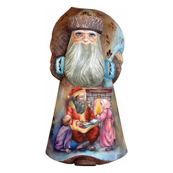 """Artistic Wood Carved Storyteller Santa Claus Sculpture - Measures 12""""H x 5.25""""L x 4.75""""W and weighs 4 lbs. G. DeBrekht fine art traditional, vintage style sculpted figures are delightful and imaginative. Each figurine is artistically hand painted with detailed scenes including classic Christmas art, winter wonderlands and the true meaning of Christmas, nativity art. In the spirit of giving G. DeBrekht holiday decor makes beautiful collectible Christmas and holiday gifts to share with loved ones. Every G. DeBrekht holiday decoration is an original work of art sure to be cherished as a family tradition and treasured by future generations. Some items may have slight variations of the decoration on the decor due to the hand painted nature of the product. Decorating your home for Christmas is a special time for families. With G. DeBrekht holiday home decor and decorations you can choose your style and create a true holiday gallery of art for your family to enjoy. All Masterpiece and Signature Masterpiece woodcarvings are individually hand numbered. The old world classic art details on the freehand painted sculptures include animals, nature, winter scenes, Santa Claus, nativity and more inspired by an old Russian art technique using painting mediums of watercolor, acrylic and oil combinations in the G. Debrekht unique painting style. Linden wood, which is light in color is used to carve these masterpieces. The wood varies slightly in color."""