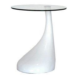 Baxton Studio Ocalo Plastic End Table with Glass Top - This table is a little funky and unexpected. The base reminds me of a mushroom, and I like the off-center glass top. In the right contemporary room, it would be perfect.