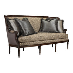 French Heritage - Auteuil Sofa - The Auteuil Sofa is gorgeous in silhouette and fabrication.  The 19th Century form with dramatic fabrication and classic finish is the epitome of glamour.  Hand-carved frame and luxury down wrapped cushion.  Sofa ships As-Shown.