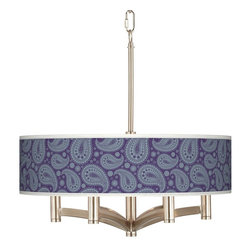 "Giclee Glow - Traditional Purple Paisley Linen Ava 6-Light Nickel Pendant Chandelier - Sleek and elegant this beautiful pendant light will make your home glow with style. A brushed nickel finish complements the clean lines while six lights make this fixture a delightfully bright and versatile choice for any style of home decor. The design features an exclusive custom printed giclee shade pattern. The pattern is printed on a high-quality translucent fabric that allows warm light to shine through illuminating the pattern for a stunning look. This stylish fixture is custom made to order. U.S. Patent # 7347593. Brushed nickel finish. Exclusive giclee printed Purple Paisley Linen pattern. Custom printed translucent fabric shade. Six 60 watt candelabra bulbs (not included). Includes 12 feet chain and wire. 17 1/4"" high. Shade is 20"" wide 5 1/4"" high. Canopy is 6"" wide.  Brushed nickel finish.  Exclusive giclee printed Purple Paisley Linen pattern.  Custom printed translucent fabric shade.  Six 60 watt candelabra bulbs (not included).  Includes 10 feet of chain 12 feet of wire.  19 1/2"" high.  Shade is 20"" wide 5 1/4"" high.  Canopy is 6"" wide."