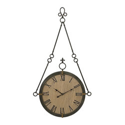 iMax - iMax Alexander Wall Clock X-51572 - Carolyn Kinder designed traditional hanging wall clock made of iron with roman numerals.