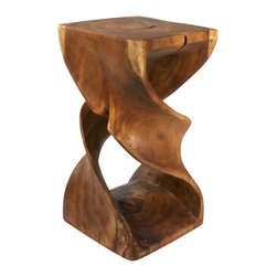 Strata Furniture - Double Twist Table, 12x23 - This piece will get your heart all twisted up with adoration! Hand carved from eco-friendly Monkey Pod wood and finished in eco-friendly Livos Black Walnut Oil, this Double Twist sits 23 inches tall and 12-by-12 inches in width. It is truly one of a kind due to the variations in the wood's colors, grains, and knots. This piece would make a fantastic end table or small display table in a contemporary or transitional home! (Double twist does not come as a pair - only one included in price.)