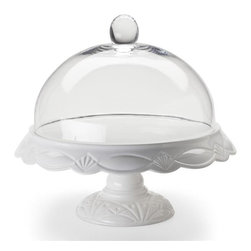 "Rosanna - Large Clear Glass Cake Dome - This Round Clear Glass Cake Dome by Rosanna will beautifully complement any cake stand. Keep the contents fresh while entertaining in an elegant and appropriate fashion. These soaring glass domes match our pedestal collection, making lovely and celebratory dessert or savory presentations. Cake stand sold individually.   * Dimensions: 11.6"" diameter surface, inside height 5"" * Fits Le Gateau Large Cake Pedestal , Item #R42534* Cake Stand Sold Separately"