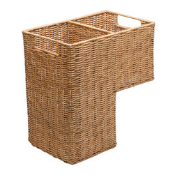 Kouboo - Wicker Step Basket - When it comes to clearing the clutter, you always need to keep one step ahead. This sturdy wicker basket sits neatly on your staircase, just waiting to be carried upstairs to unload its cargo.