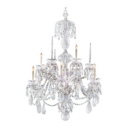 Joshua Marshal - Traditional Crystal Nine Light Chrome Up Chandelier - Nine Light Chrome Up Chandelier