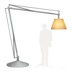 Flos - Super Archimoon floor lamp - Floor lamp providing direct and diffused light. Acid etched hand-blown pressed glass internal diffuser. Pleated cloth external diffuser. Sandcast aluminum diffuser support. Gray painted assembly composed of tubular aluminum arms and tie rods, stainless steel spring, and die-cast aluminum joints. Sand-cast aluminum base with six lead counterweights and gray painted spun aluminum base cover. 0-100% dimmer on power cord. Polarized power cord covered with silver fabric