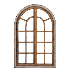 Weathered Window Pane - Add a special element to any large wall in your home with this arched window. The frame (which has no glass) is heavily weathered and adds a rustic quality to this window pane. Has latches in the top, middle, and bottom, so it is possible for the two sides to open.