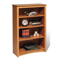 Prepac - Entryway & Home 48 in. Office Bookcase - This four shelf Sonoma bookcase is four feet tall and comes in a rich Oak color.  It's made from high quality materials and features such charming accents as a profiled top, arched kick plate, and side moldings that bring a delightful sense of charisma. * Four shelves. Warranty: Five years. Made from CARB-compliant, MDF, laminated composite wood. Made in North America . Assembly required. Internal: 29 in. W x 11.5 in. D x 39.75 in. H . Overall: 31.5 in. W x 13 in. D x 48 in. HWith four shelves' worth of storage for books, plates, decorative accessories and more, this stylish piece is ideal for your den, office or living room. Get even more storage by arranging it with others for a library wall effect. its one storage piece that's as fashionable as it is versatile.
