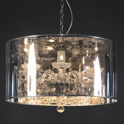 George Nelson - Crystal Pendant Lamp with PVC Shade - PVC shade. Assembly required. 19.75 in. L x 19.75 in. W 31.5 in. H. Weight: 17.6 lbs.
