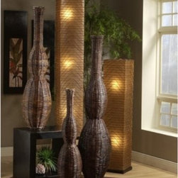 Jeffan Ohio Willow Vases - Set of 3 - Add an exotic touch to any space with the natural beauty of the Jeffan Ohio Willow Vases - Set of 3. This set includes a small, medium, and large vase, each made with a natural wicker material. Its rustic brown tones offer a textured compliment to your décor.About Jeffan InternationalJeffan International is the North American division of a 20-year-old family-owned company based in Indonesia. They design, manufacture, and market a broad line of home furnishings, including indoor/outdoor furniture, lighting, and decorative home accents. Jeffan's mission is to bring Indonesia's amazing craftsmanship and design capabilities to the rest of the world. Known for excellent customer service and superior quality, Jeffan offers whatever you need to give your home that extra-special touch.
