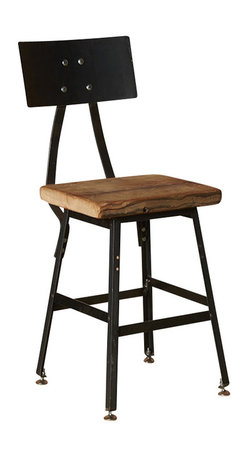 Urban Wood Goods - Urban Design Reclaimed Wood Bar Stool With Steel Back - Time after time: This bar stool offers a stylish reincarnation of an early midcentury draftsman's chair, in gunmetal steel. The design is finished with a seat crafted of reclaimed, old-growth Douglas fir. It's available in three heights to fit your seating needs now, and in the future.