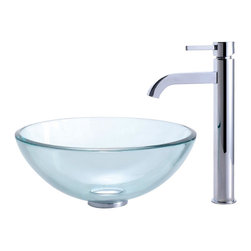 Kraus - Clear 14 in. Glass Vessel Sink and Ramus Faucet (Chrome) - Finish: Chrome
