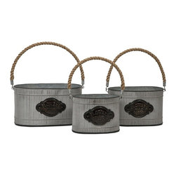 iMax - Peterson Galvanized Planter with Jute Handle, Set of 3 - This set of three charming planters, made of galvanized metal with Jute handles, is perfect for holding a kitchen herb garden, fruits, garden tools or, of course, your favorite plants.