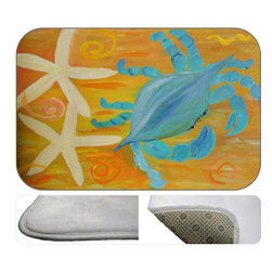 Star Fish Crab Plush Bath Mat, 20X15 - Bath mats from my original art and designs. Super soft plush fabric with a non skid backing. Eco friendly water base dyes that will not fade or alter the texture of the fabric. Washable 100 % polyester and mold resistant. Great for the bath room or anywhere in the home. At 1/2 inch thick our mats are softer and more plush than the typical comfort mats.Your toes will love you.