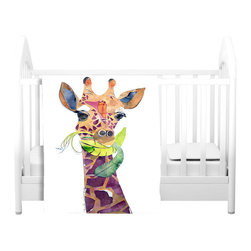 DiaNoche Designs - Throw Blanket Fleece - Giraffe - Original artwork printed to an ultra soft fleece blanket for a unique look and feel of your living room couch or bedroom space. Dianoche Designs uses images from artists all over the world to create Illuminated art, canvas art, sheets, pillows, duvets, blankets and many other items that you can print to. Every purchase supports an artist!