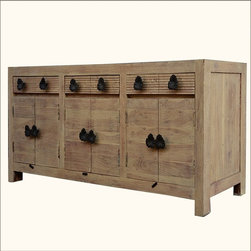 "Santa Fe Black Orchid Reclaimed Wood 3-Cabinet Sideboard Buffet - We captured the romance of the New Mexico dessert on a summer night with our Santa Fe Black Orchid Buffet. This contemporary breakfront has three large cupboard spaces and three drawers. The soft sand-like colors of the wood contrast beautifully with the dynamic black orchid hardware. The 86"" long storage system stands off the ground on short square legs."