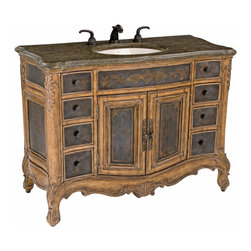Ambella Home - Winslow Large Sink Chest - This petite sink chest features mahogany solids with acid wash, etched brass sheeting and a golden agate fossil stone top - all designs of the Winslow collection. Balsa porcelain sink installed.  Imported.