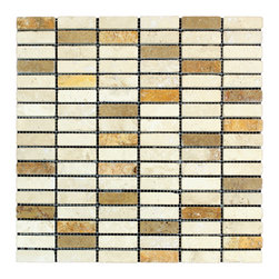 STONE TILE US - Stonetileus 10 pieces (10 Sq.ft) of Mosaic Road Mix White Noce Gold 5/8x2- Tumbl - STONE TILE US - Mosaic Tile - Road - Mix - White - Noce - Gold - 5/8x2- Tumbled Specifications: Coverage: 1 Sq.ft size:  - 1 Sq.ft/Sheet Sheet mount:Meshed back Stone tiles have natural variations therefore color may vary between tiles. This tile contains mixture of gold - white - light brown - dark brown - yellow - copper - red - and color movement expectation of high variation, The beauty of this natural stone Mosaic comes with the convenience of high quality and easy installation advantage. This tile has Tumbled surface, and this makes them ideal for walls, kitchen, bathroom, outdoor, Sheets are curved on all four sides, allowing them to fit together to produce a seamless surface area. Recommended use: Indoor - Outdoor - High traffic - Low traffic - Recommended areas: Road - Mix - White - Noce - Gold - 5/8x2- Tumbled tile ideal for walls, kitchen, bathroom,Free shipping.. Set of 10 pieces, Covers 10 sq.ft.