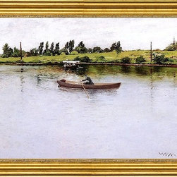 """William Merritt Chase-16""""x24"""" Framed Canvas - 16"""" x 24"""" William Merritt Chase Pulling for Shore framed premium canvas print reproduced to meet museum quality standards. Our museum quality canvas prints are produced using high-precision print technology for a more accurate reproduction printed on high quality canvas with fade-resistant, archival inks. Our progressive business model allows us to offer works of art to you at the best wholesale pricing, significantly less than art gallery prices, affordable to all. This artwork is hand stretched onto wooden stretcher bars, then mounted into our 3"""" wide gold finish frame with black panel by one of our expert framers. Our framed canvas print comes with hardware, ready to hang on your wall.  We present a comprehensive collection of exceptional canvas art reproductions by William Merritt Chase."""