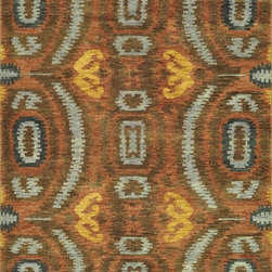 "Loloi Rugs - Loloi Rugs Spencer Collection - Blue / Cinnamon, 5'-6"" x 8'-6"" - The Spencer Collection speaks to recent pattern-heavy fashions, with allover Ikat designs in rich, bold colorations. The hand-knotted New Zealand wool rugs are meticulously sheared for a low pile that is at once contemporary and transitional. Spencer Ikats are equally at home in rustic, southwest and modern urban interiors."