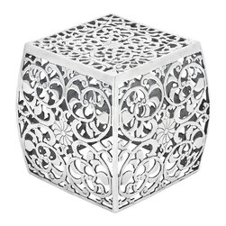 Metal Stool with Cube Shaped and Intricate Design - Beautifully  designed with checks pattern, this aluminum stool looks marvelous in a trendy and sportive design. Perfectly shaped in a cube shape, the spacious top surface is both convenient and comfortable to sit. Its blunt-edged corners provide better safety for kids and elders as well. Made of aluminum, its highly durable construction ensures long life span. It is highly resistant to corrosion and deterioration against the weather conditions due to the natural elements. Waterproof and rust-resistant, it is suitable for any outdoor area such as patio, porch, or garden. It is easy to clean, requires little maintenance, and is sure to last longer for years to come. Shining with a shimmering gleam, it also adds great decor to your living room. Arrange these wonderful stools around a table and invite your guests and friends for a chat or enjoy a starry night with your family on the lawn.. It comes with following dimensions