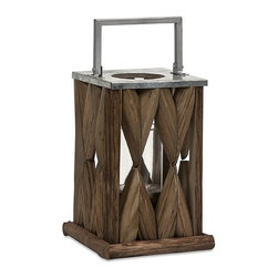 iMax - Santiago Wooden Lantern - Small - Beautifully constructed tanoak pieces form the walls of the Santiago lantern creating a soft natural glow, while the metal top and handle make it safe for candles.